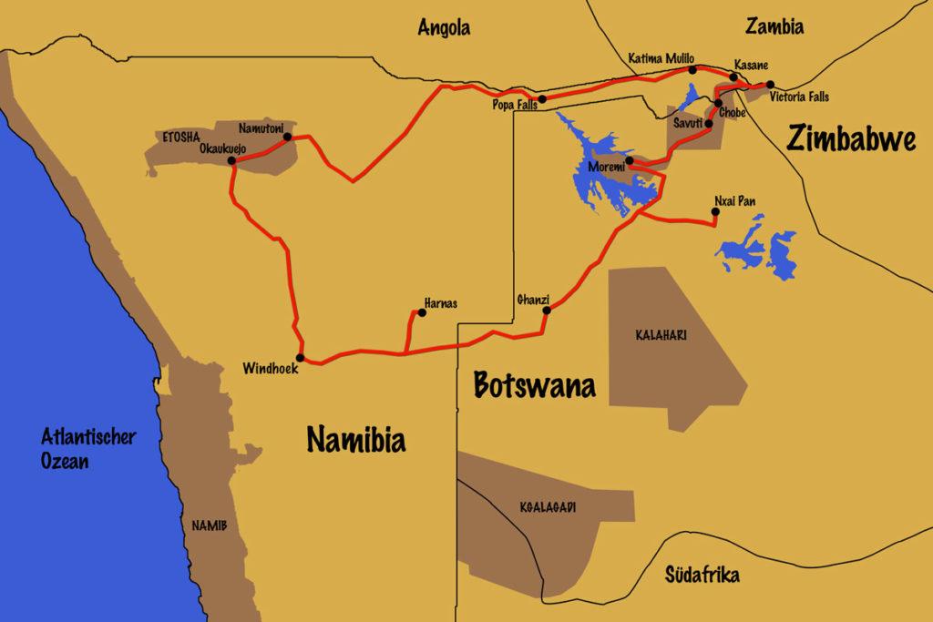 Flugzeit namibia
