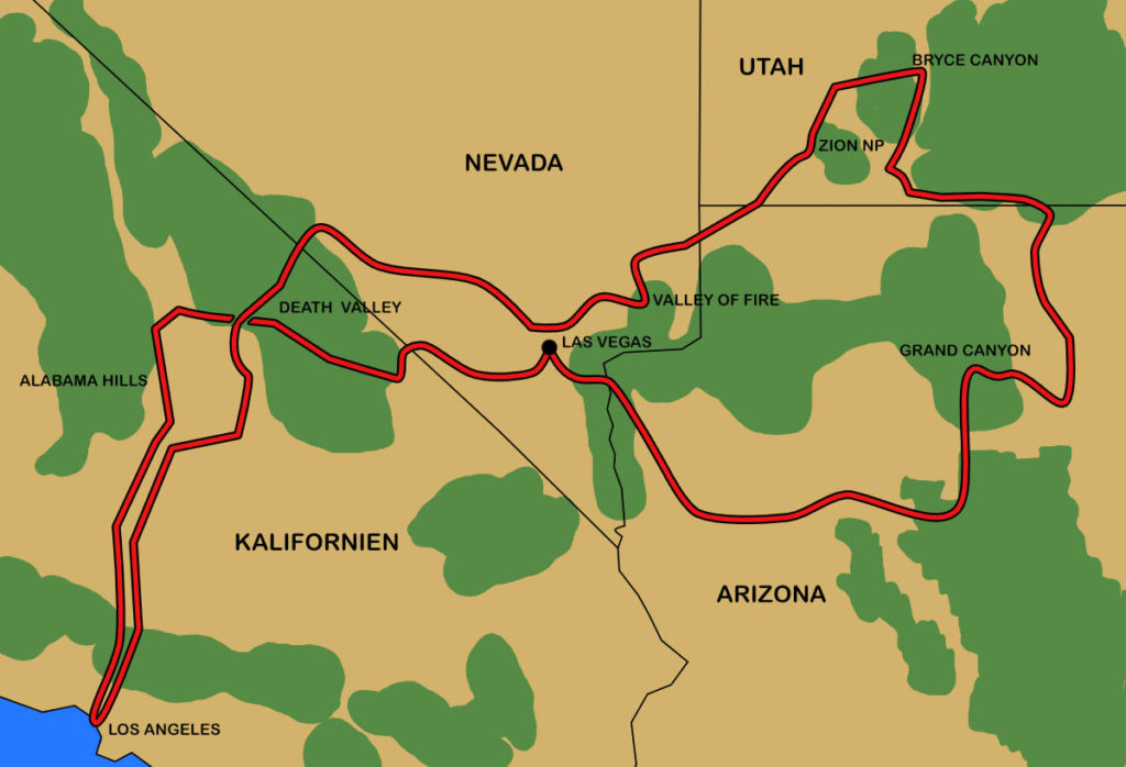Unsere gefahrene Route durch den Südwesten